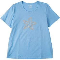 Coral Bay Petite Embellished Starfish Short Sleeve Top