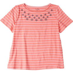 Coral Bay Petite Striped Short Sleeve Top With Anchors