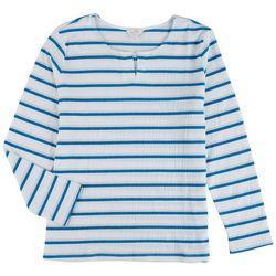 Coral Bay Petite Metallic Stripes Long Sleeve Top