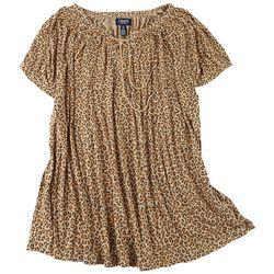 Chaps Plus Leopard Lace Up Short Sleeve Top
