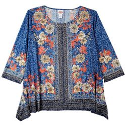 Ruby Road Plus Embellished Placement Print 3/4 Sleeve Top