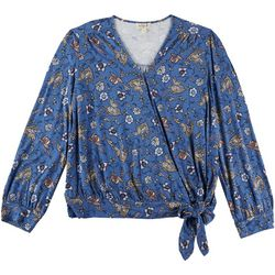 OneWorld Womens Floral Wrap Tie Blouse