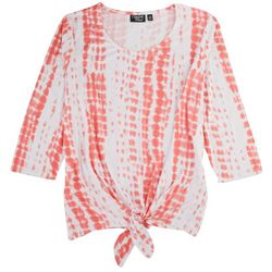 Onque Plus Tie Front 3/4 Sleeve Top