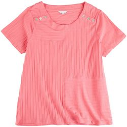 Coral Bay Plus Button Accent Short Sleeve Top