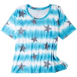 Onque Casual Womens Star Printed Short Sleeve