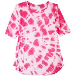 Coral Bay Plus Elbow Sleeves Neon Tie-Dye Top