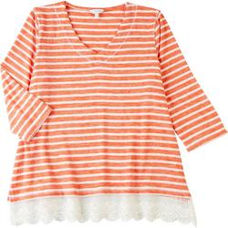 Plus Studded Stripe 3/4 Sleeve Top With Lace