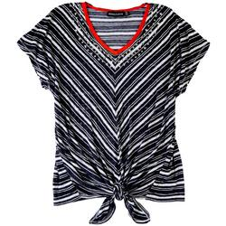 Onque Plus Casual V-Striped Short Sleeve