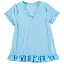 Coral Bay Plus Swiss Dotted Ruffle Top