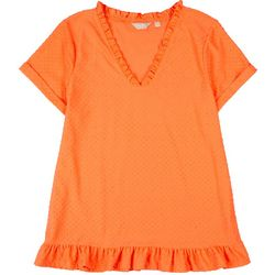 Coral Bay Plus Textured Swiss Dot Short Sleeve