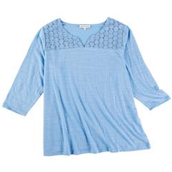 Plus Scoop Neck Top With Lace Top Detail