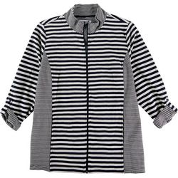 Emily Daniels Plus Striped Zip Up Jacket