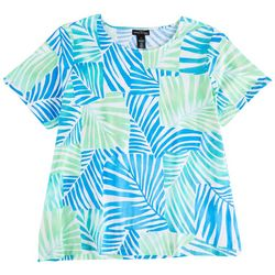 Alfred Dunner Plus Palm Patch Short Sleeve Top