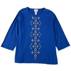 Alfred Dunner Plus Center Embroidered 3/4 Sleeve Top