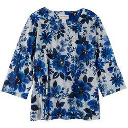 Alfred Dunner Plus Flower Embellished 3/4 Sleeve Top