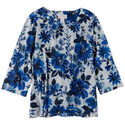 Plus Flower Embellished 3/4 Sleeve Top