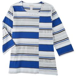 Alfred Dunner Plus Mixed Striped 3/4 Sleeve Top