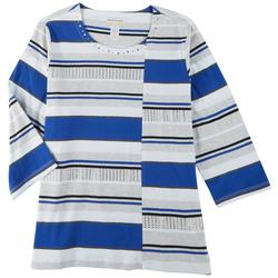 Plus Mixed Striped 3/4 Sleeve Top