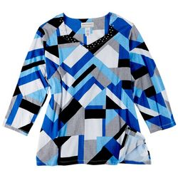 Alfred Dunner Plus Patchwork Bling 3/4 Sleeve Top