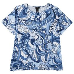 Alfred Dunner Plus Abstract Studio Short Sleeve Top