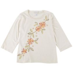 Alfred Dunner Plus Diagonal Embroidered 3/4 Sleeve Top