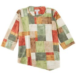 Alfred Dunner Plus Asymmeytrical Patchwork 3/4 Sleeve Top