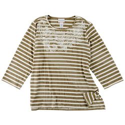 Alfred Dunner Plus Embroidered Striped  Print 3/4 Sleeve Top