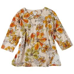 Alfred Dunner Plus Floral Print 3/4 Sleeve Top