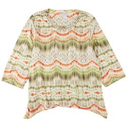 Alfred Dunner Plus Ikat 3/4 Sleeve Top