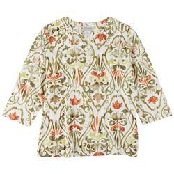 Plus Embellished Print 3/4 Sleeve Top