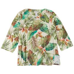 Alfred Dunner Plus Tropical Print 3/4 Sleeve Top