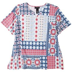 Alfred Dunner Plus Patchwork Short Sleeve Top