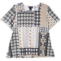 Alfred Dunner Plus Patchwork Print Short Sleeve Top