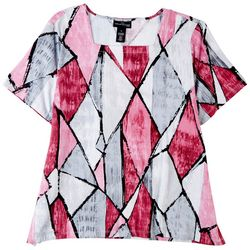 Alfred Dunner Plus Squared Neck Short Sleeve Top