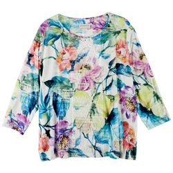Alfred Dunner Plus Center Lace Floral Print 3/4 Sleeve Top
