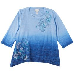 Alfred Dunner Plus Ombre Paisley Print 3/4 Sleeve Top