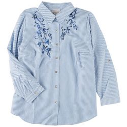 Alfred Dunner Plus Embroidered Pinstripe 3/4 Sleeve Top