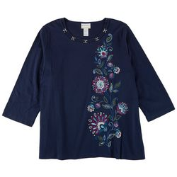 Alfred Dunner Plus Side Floral Embroisered 3/4 Sleeve