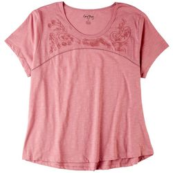Coral Bay Plus Embroidery Flowers Scoop Neckline Top