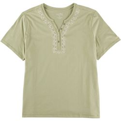 Coral Bay Plus Embroidered Henley Top