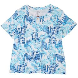 Coral Bay Plus Key Hole Ring Short Sleeve Top