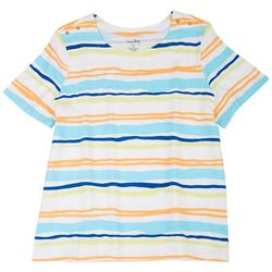 Coral Bay Plus Printed Striped Short Sleeve Top
