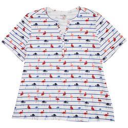 Plus Flamingos Short Sleeve Top