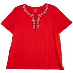 Plus Boho Embroidery Split Neck Top
