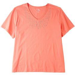 Coral Bay Plus Embellished V-neck Short Sleeve Top