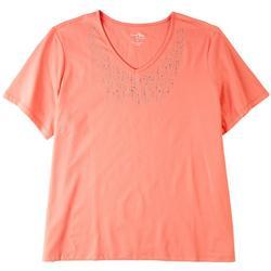 Plus Embellished V-neck Short Sleeve Top