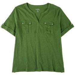 Plus Split Short Sleeve Top