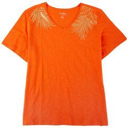 Coral Bay Plus Gold Leaf V-neck Short Sleeve Top