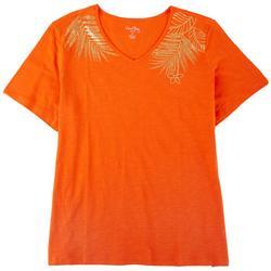 Plus Gold Leaf V-neck Short Sleeve Top