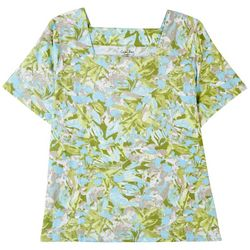 Coral Bay Plus Tropical Squared Neck Short Sleeve Top